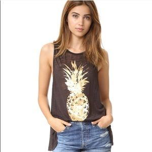 Chaser Golden Pineapple Burnout Muscle Tank